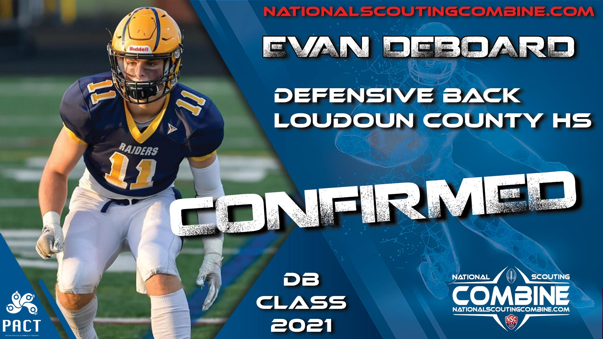 National Scouting Combine HS Prospect Evan DeBoard, DB from Loudoun County HS